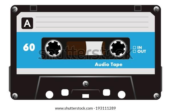 Blue musiccasette, cassette tape, vector art image illustration, isolated on white background, eps10