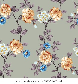 blue and mustered vector flowers with leaves pattern on grey background