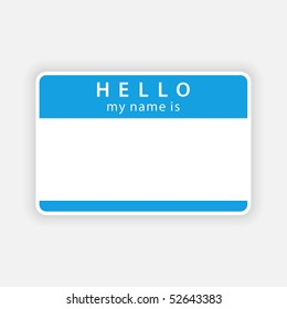 Blue name tag blank sticker with shadow on gray background