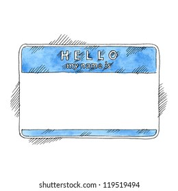 Blue name tag sticker HELLO my name is. Empty badge painted handmade draw ink sketch and watercolor technique on white background. Vector illustration clip-art element for design saved in 10 eps