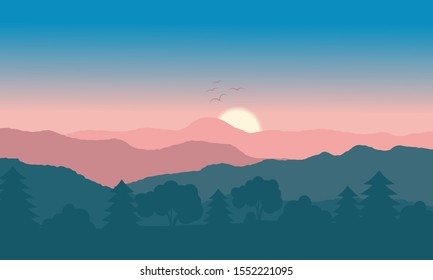 Blue nature backdrop. Mountain and tree with sunrise on sky. Vector landscape.