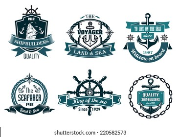 Blue nautical and sailing themed banners or icons with ship, anchor, rope, steering wheel and ribbons
