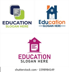 Blue navy orange green grey black book house chin may book initial symbol icon square roof window modern logo design template suitable for education homework privates parents study knowledge business