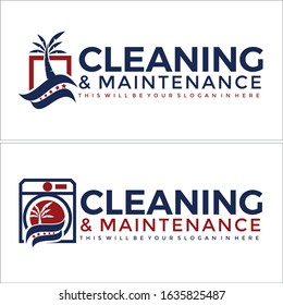 Blue navy red tree palm swash square star and washing machine symbol icon vector logo suitable for cleaning service maintenance provide dryer vents start up