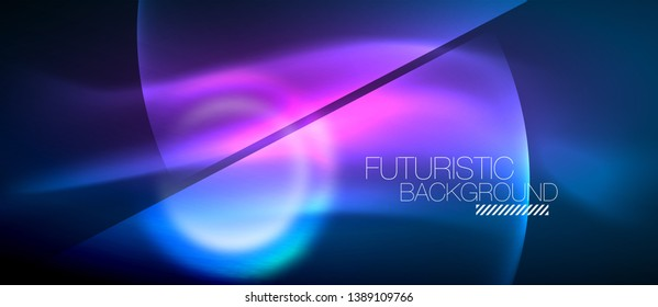 Blue neon bubbles and circles futuristic abstract background, modern shiny glowing space lights template