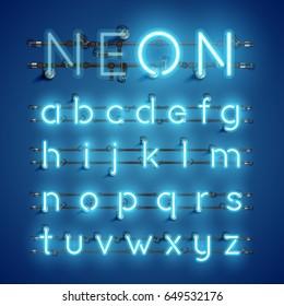 Blue neon character font set on blue background, vector illustration