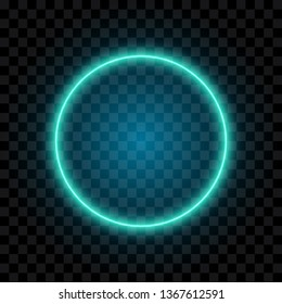 Blue neon circle, frame, isolated on transparent background, vector illustration.