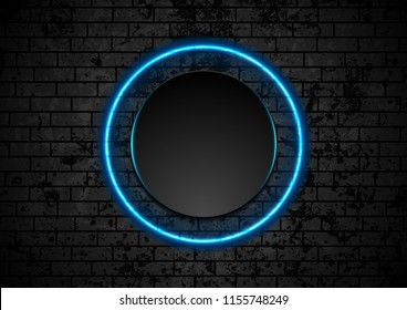 Blue neon circle on grunge brick wall background. Vector retro design