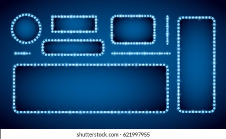 Blue neon colored vector retro looks frames template. Lamps lighted vector illustration
