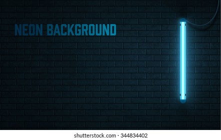 blue neon lamp isolated on black brick wall