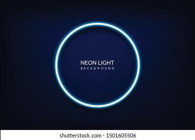 Blue neon light circle frame on background. Vector illustration