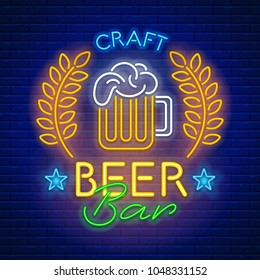 Blue neon light glowing sign Craft beer bar against a brick wall background. Vector illustration.