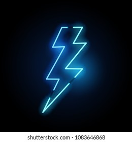 A blue neon lightning bolt sign. Vector illustration.