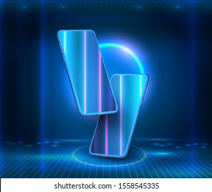 Blue neon lights, virtual reality, circles, energy source, glowing rings. Modern glass smartphone hanging over the table with a smooth dark blue surface in perspective view with reflection. Isometric
