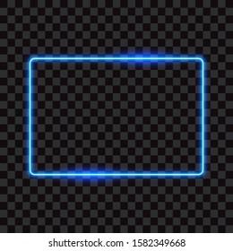 Blue neon rectangle frame, sign on transparent background, vector illustration.