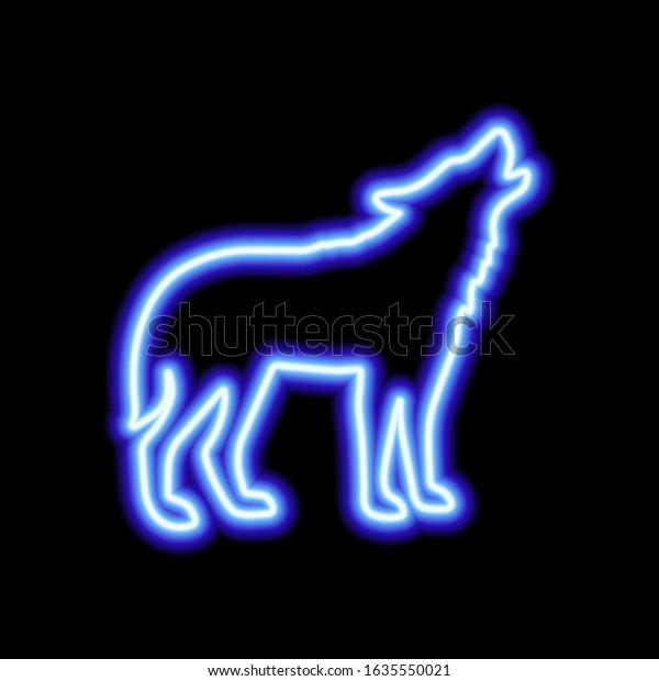 Blue Neon Sign Wolf On Black Stock Vector Royalty Free 1635550021
