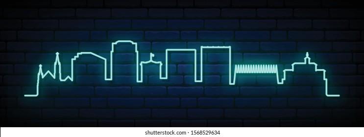 Blue neon skyline of Colorado Springs city. Bright Colorado Springs long banner. Vector illustration.