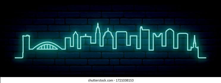 Blue neon skyline of Columbus city. Bright Columbus long banner. Vector illustration.