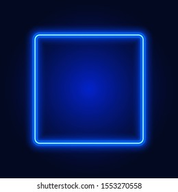 Blue neon square frame, sign on dark background, vector illustration.