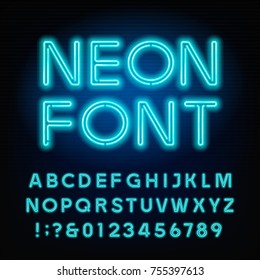 Blue neon tube alphabet font. Neon color letters and numbers. Stock vector typeset for your headers or any typography design.