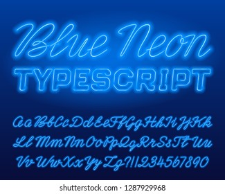 Blue Neon typescript. Blue color lowercase and uppercase shiny letters and numbers. Stock vector alphabet font for your typography design.