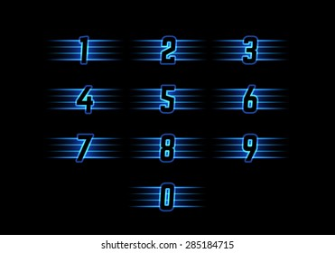 Blue Neon Vector Numerals. Luminous Numbers with Stripes. Shiny Symbols for Logos, Icons, Competitions.