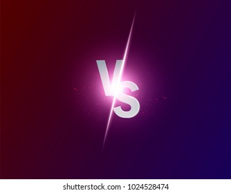 Blue neon versus logo vs letters for sports and fight competition. Battle vs match, game concept competitive vs. Vector illustration eps 10