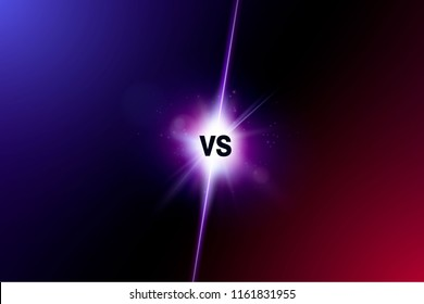 Blue neon versus logo vs letters for sports and fight competition. Battle vs match, game concept competitive vs.eps 10 Vector illustration
