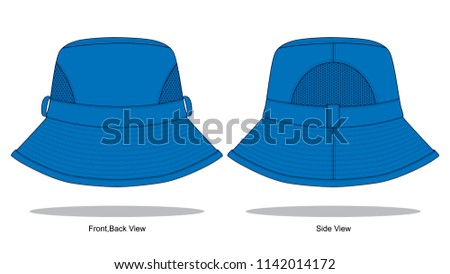 blue net bucket hat template stock vector royalty free 1142014172