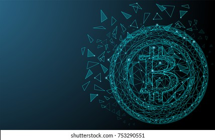 Blue network connection bitcoin cryptocurrency. Shiny triangles and hexagons. Abstract space with stars design. Techno modern bitcoin logo style. Vector illustration. EPS 10.