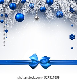 Blue New Year background with Christmas balls and bow. Vector illustration.