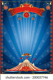blue night circus poster. A circus poster for your circus company.
