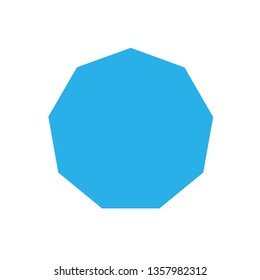 blue nonagon basic simple shapes isolated on white background, geometric nonagon icon, 2d shape symbol nonagon, clip art geometric nonagon shape for kids learning