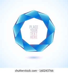 Blue nonagon shape on white background