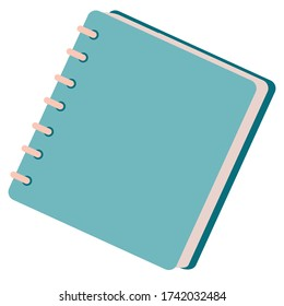 blue notebook on a spring, notepad, isolated object on a white background, vector illustration,