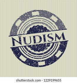 Blue Nudism distressed grunge stamp