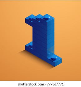 Blue number one from lego bricks on yellow background. 3d lego number one