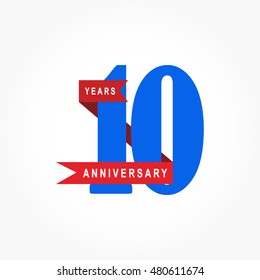 blue numbered anniversary logo vector with red ribbon