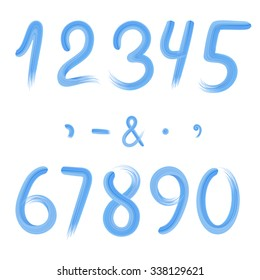 Blue numbers and signs quotation marks, comma, minus, point, ampersand isolated. Brush stroke texture imitation. Vector illustration