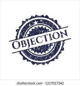 Blue Objection distress grunge seal