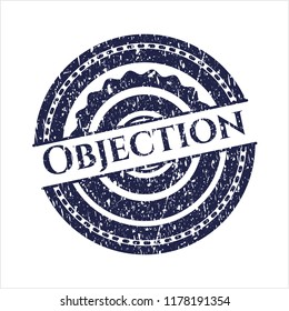 Blue Objection rubber grunge stamp