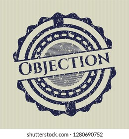 Blue Objection rubber stamp with grunge texture