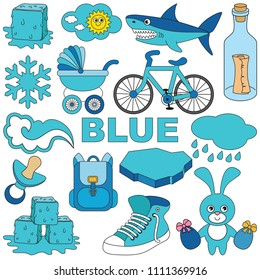 Blue Objects Color Elements Set Collection Of Coloring Book Template The Group Outline