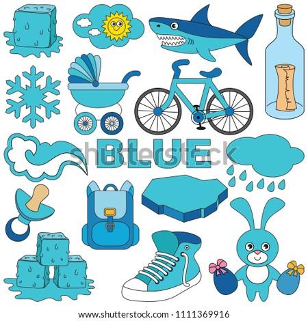 Blue Objects Color Elements Set Collection Vector de stock (libre de