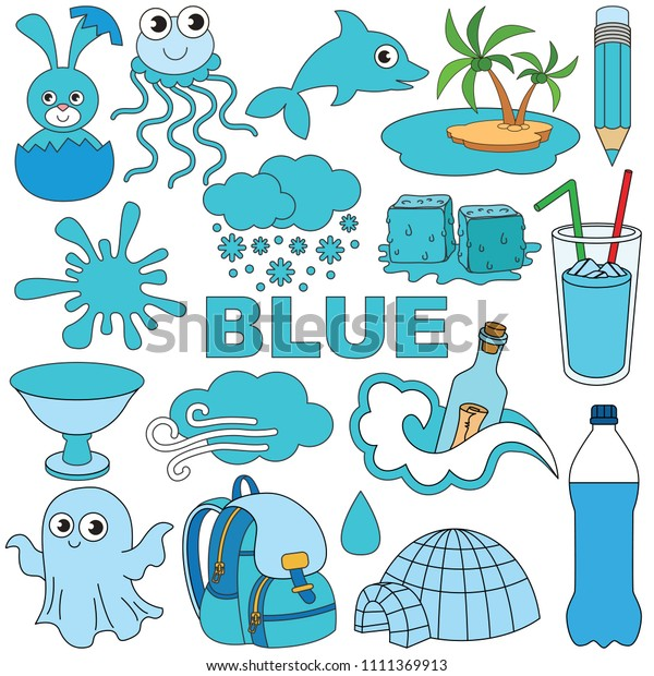 Blue Objects Color Elements Set Collection Stock Vector (Royalty