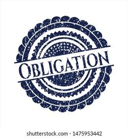 Blue Obligation distress rubber grunge stamp
