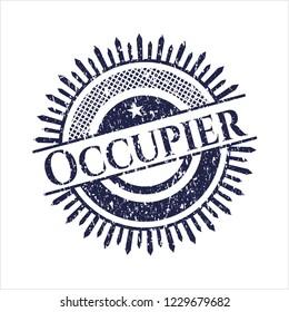 Blue Occupier distress grunge style stamp