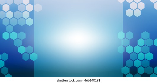 Blue ocean background with hexagonal style