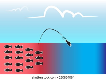 Blue ocean business strategy,vector or illustration