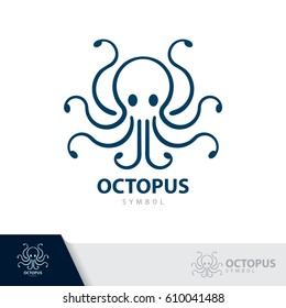 Blue Octopus symbol icon isolated on white background. Vector illustration, Logo template design.